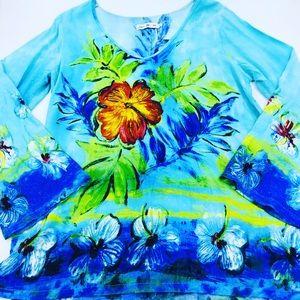 Jams World Floral Tunic Blouse L EUC